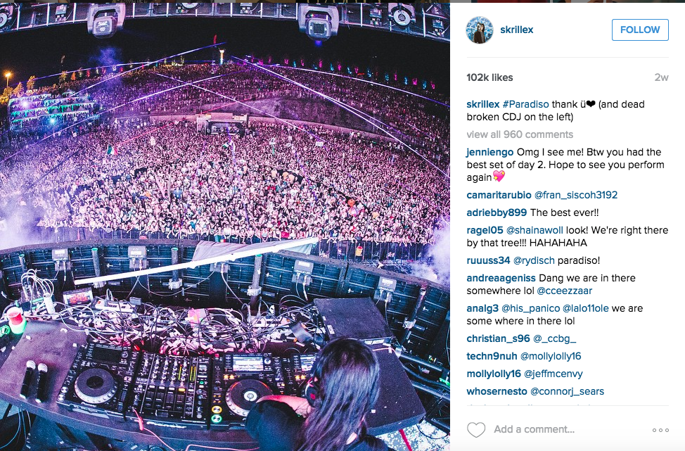 Skrillex posting a picture of a performance on his Instagram